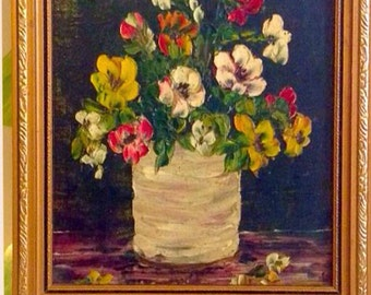 Vintage Framed And Mounted Original Still Life Oil On Canvas Painting - Vase Of Flowers By M Castle