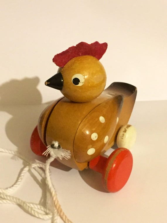 Vintage Pull Along Wooden Hen Made in Czechoslovakia | Etsy