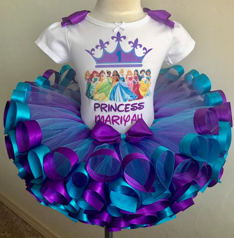 Pageant outfit Purple and Turquoise Princess  Tutu Outfit,First birthday party Princess Disney