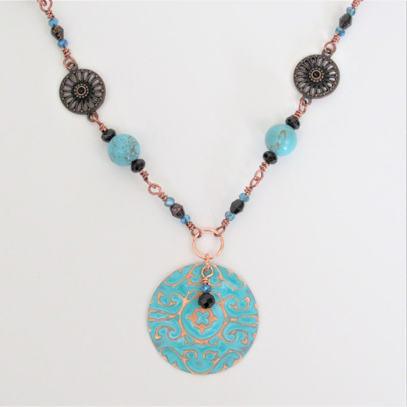 Copper filigree necklace teal necklace glass bead chain necklace romantic vintage 20 assemblage patina turquoise blue