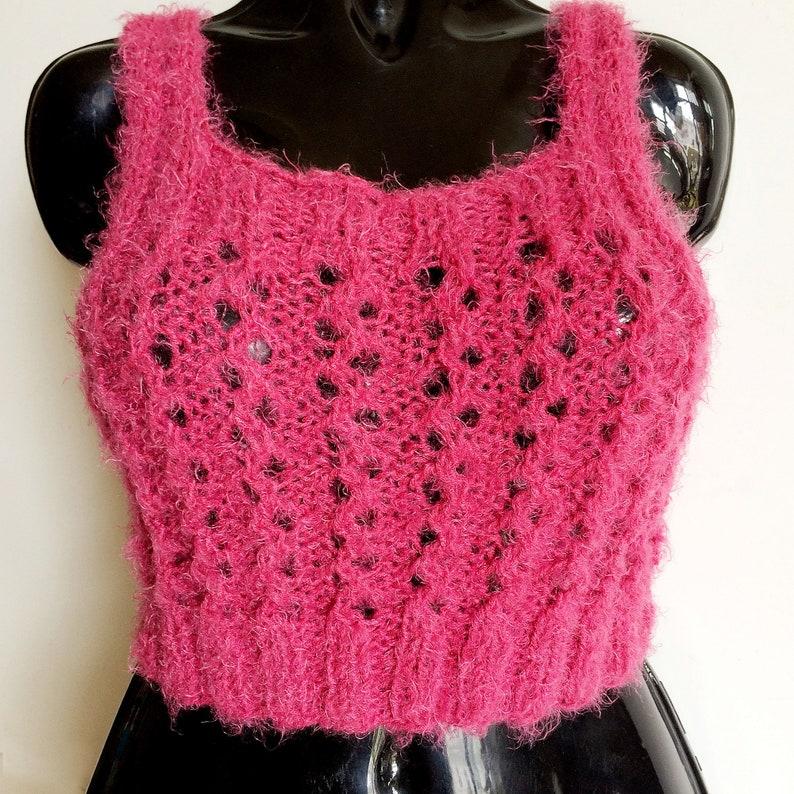 886e5a755e Tank top Vegan mohair crop top sweater Pink bralette top Comfy