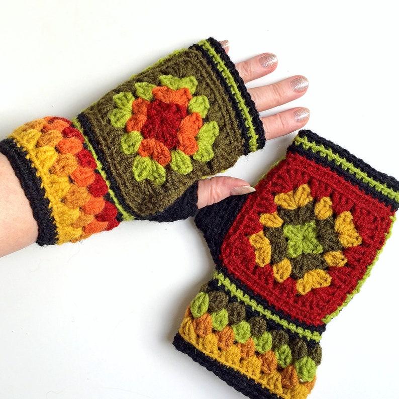 Mittens Crochet Fingerless Gloves Granny Squares Mittens Etsy