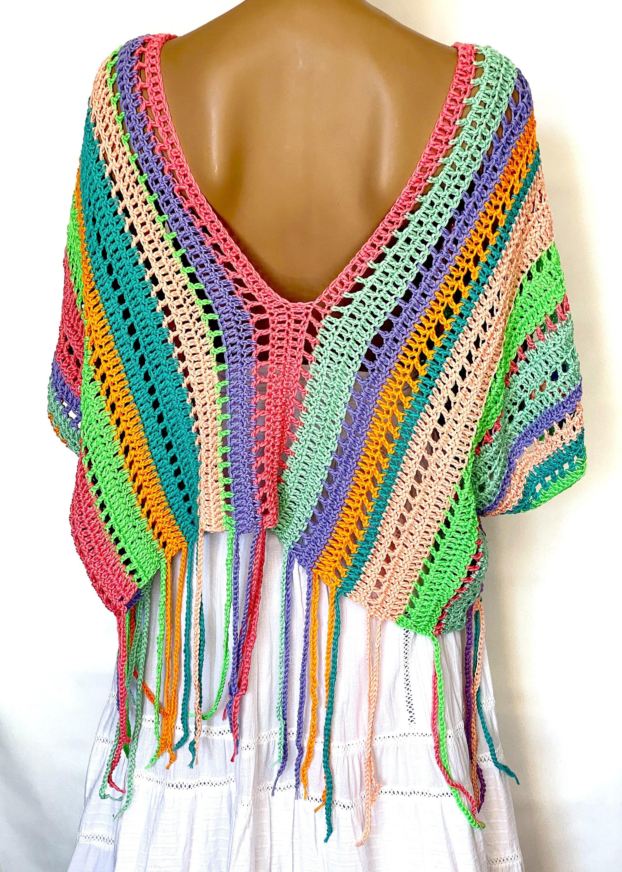 Baumwollpullover Poncho für Frauen Gestreiftes Sommer | Etsy
