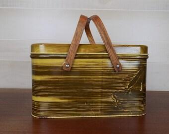 Vintage Faux Bois Wood Metal Picnic Basket with Wooden Handles