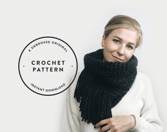 CROCHET PATTERN ⨯ Infinity Cowl Scarf, Tassel Fringe ⨯ The L'acul