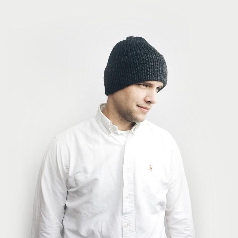 0837955d3c2200 KNITTING PATTERN Double Brim Hat Slouchy Hat Knit Beanie | Etsy
