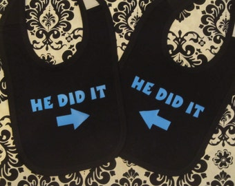 Great gift or present Cell Mates Twin Baby Bibs Set