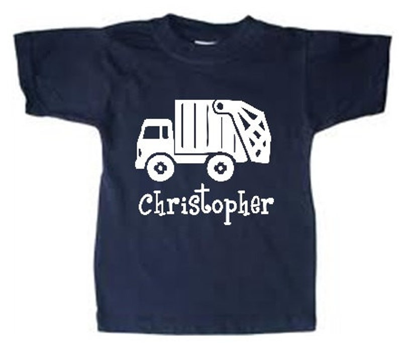 personalized trash truck shirt  Kids Trash Truck tshirt  Navy tee w/ white