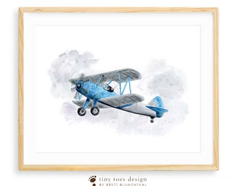 Airplane Nursery Art, Biplane Nursery Print, Kids Wall Art, Plane Print, Big