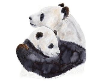 Mom and baby bear Nursery Wall Art by Valentina Ra Mama Panda Bear Print Watercolor Painting
