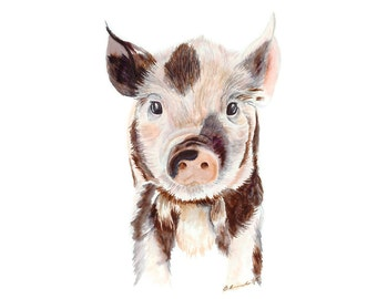Baby Pig Art, Farm Nursery Decor, Farm Animal Print, Baby Animal Print, Pig Print, Farm Decor, Baby Decor, Farm Art, Pig Decor, Piglet