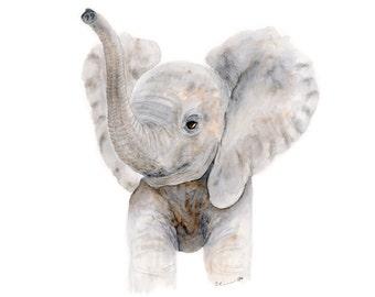 Baby Elephant Watercolor - Nursery Art Print - Kids Wall Decor - Elephant Nursery Wall Art - Neutral Nursery - Baby Animal Print - Gray