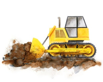 Boy Nursery Decor - Bulldozer Wall Art - Construction Truck Print - Kids Room Decor - Construction Nursery - Bulldozer Print - Baby Boy Room