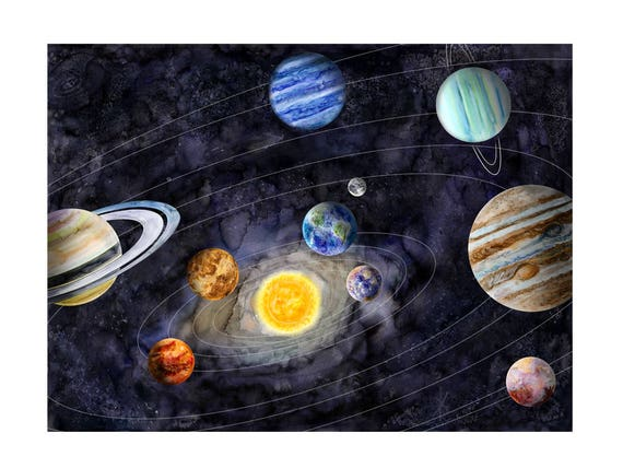 Solar System Art Space Nursery Decor Kids Room Decor Space Print Outer Space Decor Kids Science Poster Boy Art Astronomy Gift