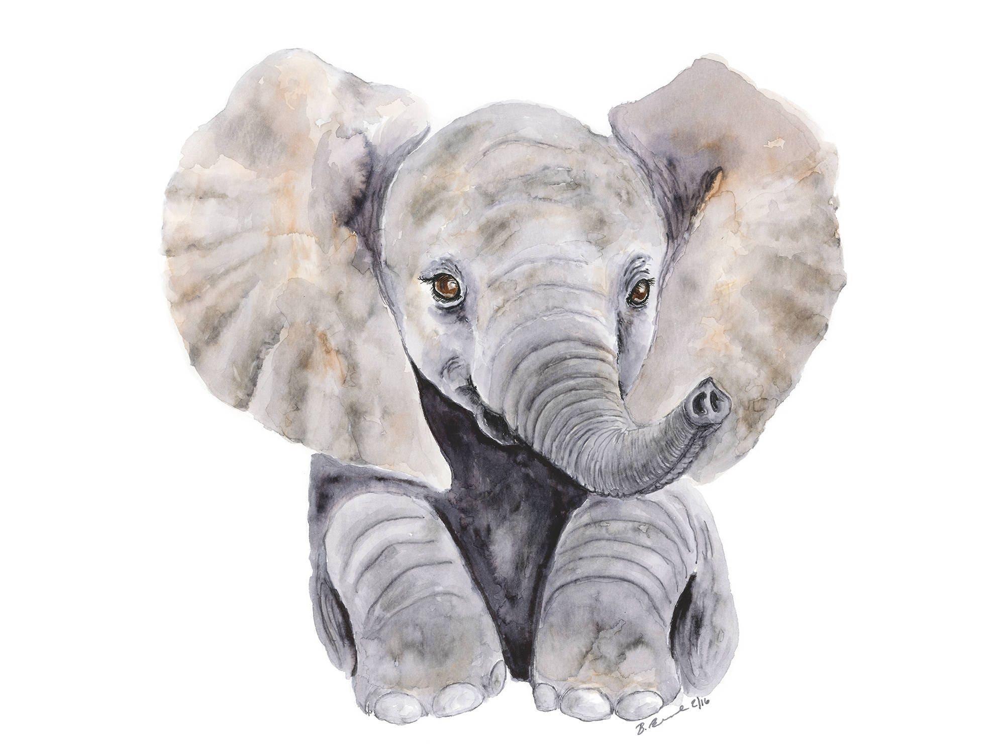large elephant print baby elephant nursery watercolor baby