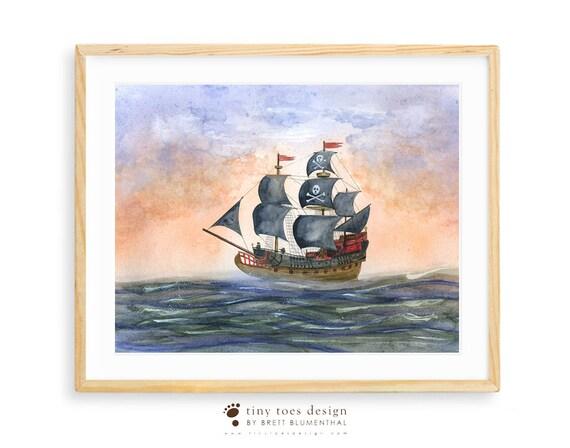 Pirate Ship Print Sail Boat Wall Art Pirate Nursery Art | Etsy