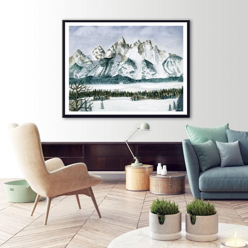 Grand Teton Art Watercolor Painting Print Housewarming Gift Grand Teton National Park Poster Wyoming Travel Poster National Park Art