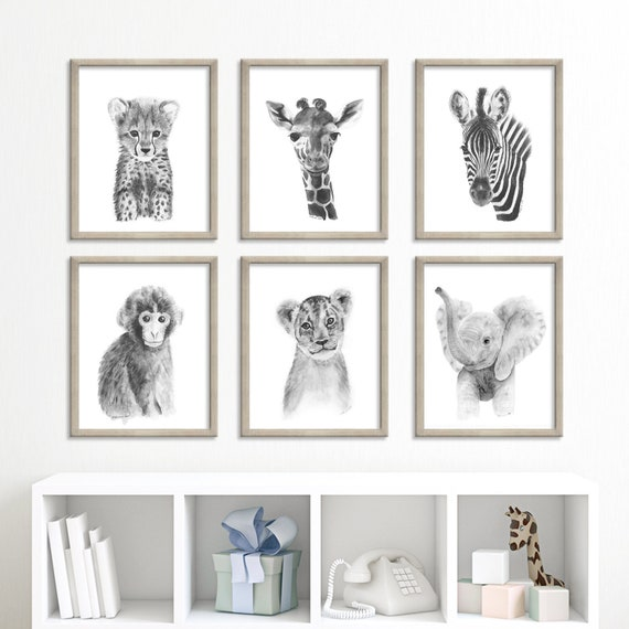 Safari Nursery Animal Print Set of 6 African Baby Animal Prints Nursery Print