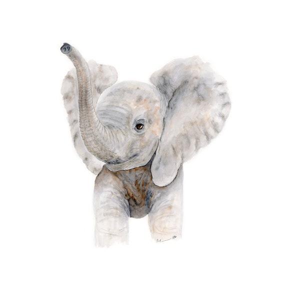 Baby Elefant Aquarell Kinderzimmer Kunst Druck Kinder Etsy