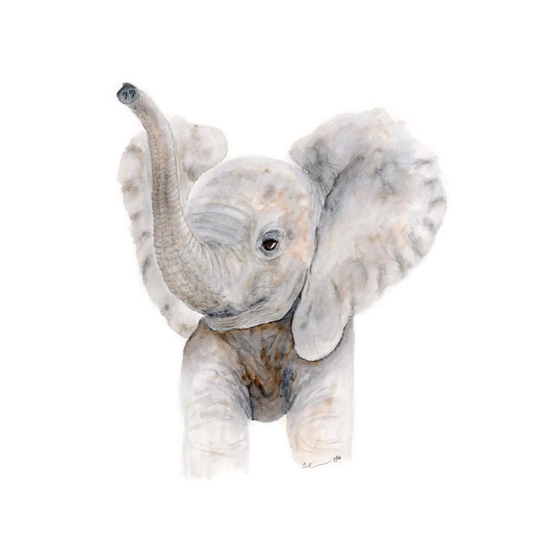 Baby Elephant Watercolor  Nursery Art Print  Kids Wall Decor image 0