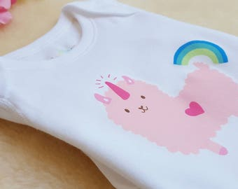 3640a8625 Rainbow Pop Llamacorn in Pastel - New Baby Toddler Outfit - Organic Cotton