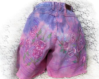 high waisted jean shorts - pink jean shorts - painted jean shorts - distressed jean shorts - upcycled dyed shorts - Hippy shorts  # 5
