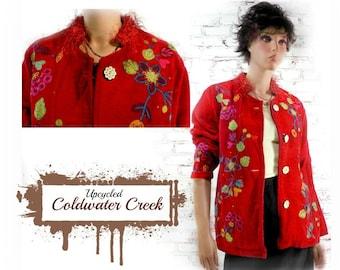 Red jacket , tapestry jacket , embellished jacket,  red Boho jacket , red coat , red embroidery jacket ,red upcycled coat ,  # 15