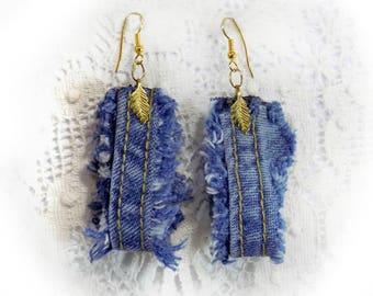 fbcc64274 Denim drop earrings - Denim Earrings, , Blue Denim Earrings ,top selling  earrings - jean drop earrings - recycled product earrings -# J 1