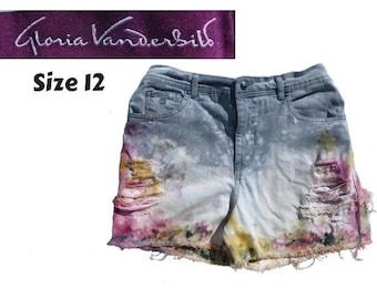 high waisted jean shorts -Black Acid Wash Ombre jean shorts -grunge denim shorts -distressed jean shorts -upcycled dyed shorts -Hippy shorts