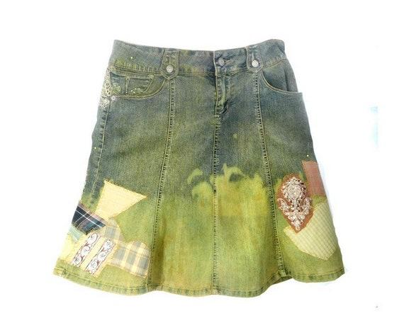 patchwork Denim Skirt-Upcycled Women's Jean Skirt-
