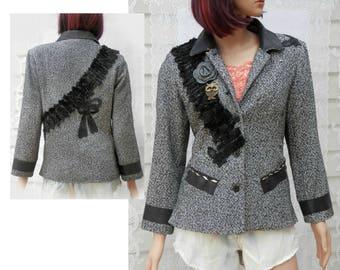 Altered couture jacket, Boho jacket, embellished jacket, ladies jacket, women's  OOAK clothing,Size small ,   # 28