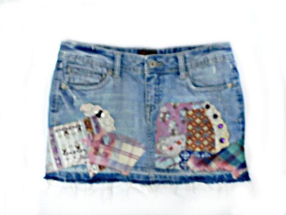 Denim Mini skirt  -upcycled denim skirt, Acid wash