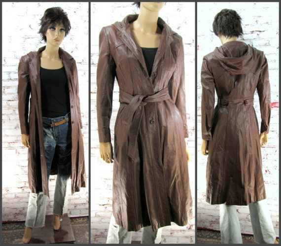 Leather Coat, brown Leather Coat, Vintage Leather