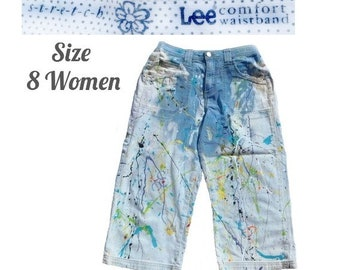 Hand painted denim Capri pants -Size 8 women - Waist 30 -Hand painted clothing -High waisted Shorts -Festival clothing - jean painted shorts