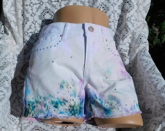 Tie Dyed White shorts -size 15 shorts- Summer Jean Short -cut off shorts -art to wear -booty shorts - hand painted Hippie denim shorts- # 60