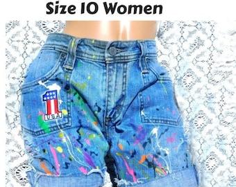 Vintage Levi's denim shorts -size 10 shorts -Patched work shorts - Levi Strauss cut off - destroyed shorts -blue jean shorts women -  # 77