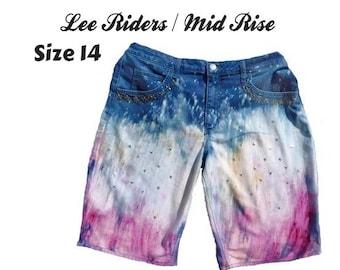 galaxy denim shorts for women -Vintage space cosmos shorts - size 14 shorts -walking shorts -destroyed ripped trashed grunge shorts - # 119