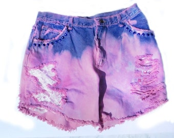 Size 18 shorts  -pink purple denim shorts -high waisted jean shorts -distressed jean shorts -upcycled dyed shorts -Grunge shorts  # 52