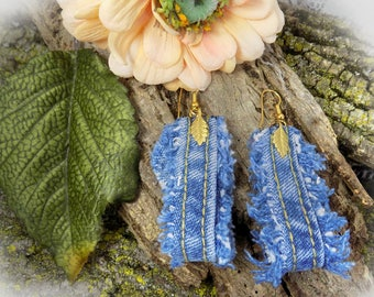 denim accessories women - Earrings handmade denim - Denim Fabric Earrings - denim wear - Denim dangle earring - # J  1