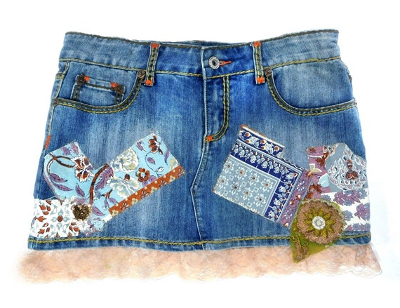 Denim Mini skirt  -upcycled denim skirt, Acid wash