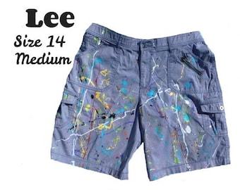 Bermuda shorts women -Size 14 Shorts -High Waist Mom Shorts -Upcycled Distressed cotton Shorts women, Summer women's clothing, grey gray  67