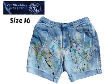 high waisted jean shorts - size 8 shorts- Boho denim shorts - OOAK shorts -hand painted shorts - denim shorts - free people shorts -  # 117