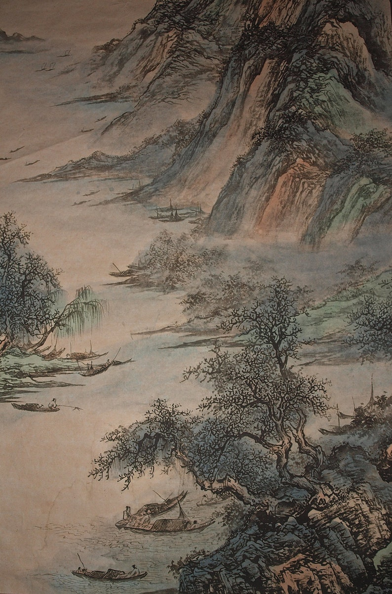 b819feb68 Traditional Chinese Landscape Painting Vintage Chinese Ink | Etsy