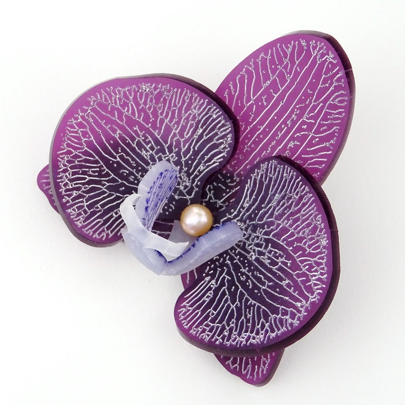 3d Orchid Brooch Frosted Grape Blossom