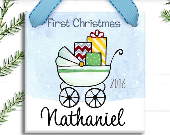 Baby Boy Ornament - Baby's 1st Christmas - Baby's First Christmas Ornament - Posh Baby Stroller - Shabby Chic Baby - Baby Boy Gift