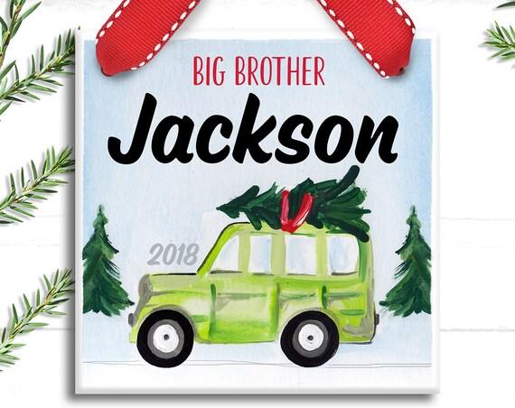 Big Brother Vintage Ornament - Christmas Ornament Handmade - Big Brother - Little Brother - Vintage Christmas Ornament - Handmade Ceramic