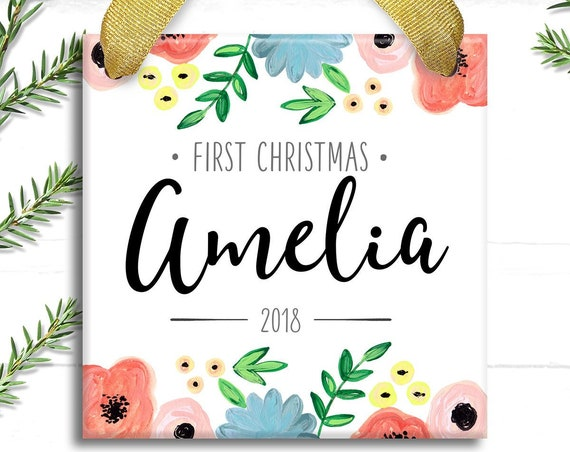 Personalized Watercolor Baby Ornament - Baby Girl Personalized Gift - Floral Cristmas Ornament - Holiday Decor - Gift for Newborn Baby Girl