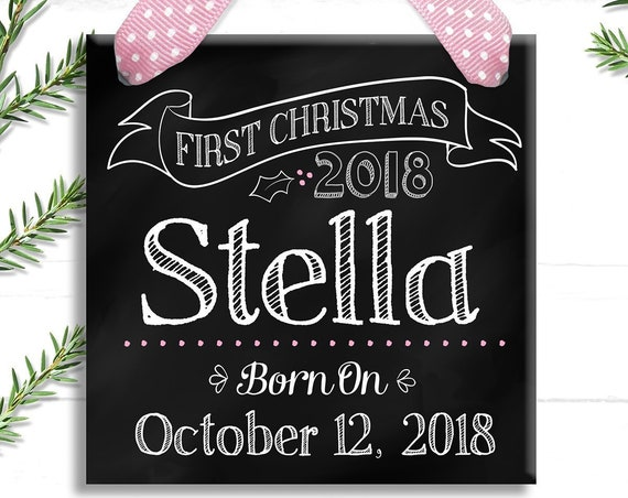 Baby's First Christmas Ornament - Personalized Baby Ornament - Chalkboard