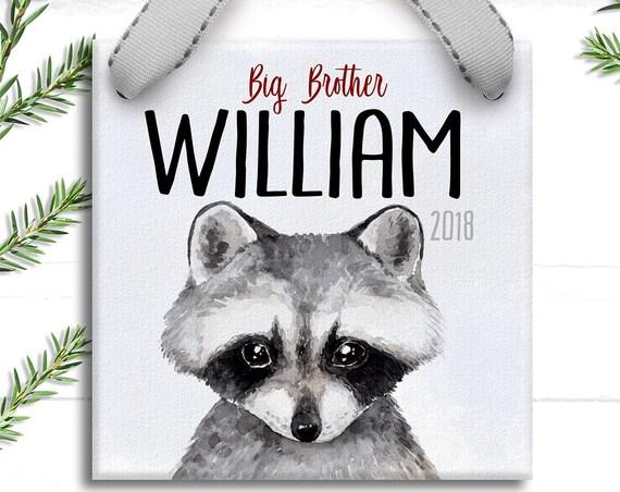 Big Brother Personalized Christmas Ornament - Woodland Racoon Peekaboo - Gift for New Big Brother - Rustic Christmas - Baby Animal Print