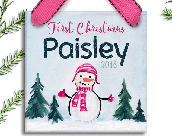 Baby's First Christmas Ornament - Personalized Children's Ornament - Little Snowman - Personalized Newborn Baby Girl Gifts - Baby Girl